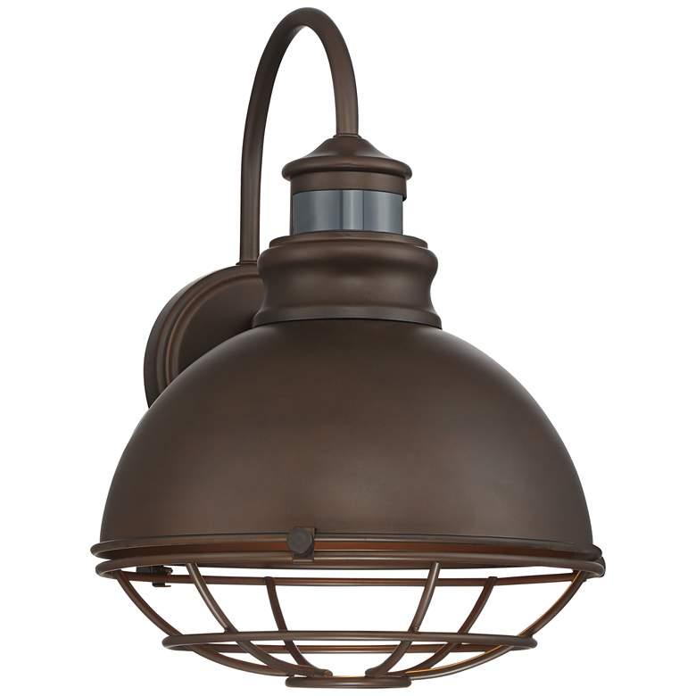 "Norton 14"" High Bronze Caged RLM Outdoor Wall Light"