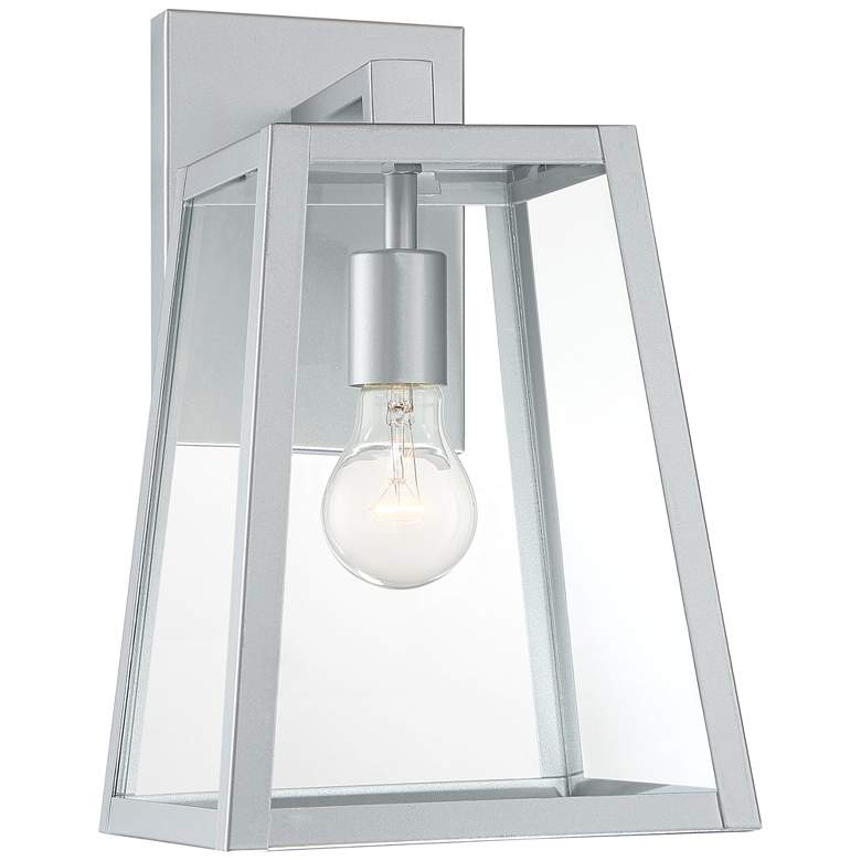 "Arrington 13"" High Glass and Silver Outdoor Wall Light"