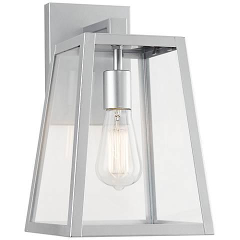 "Arrington 13"" High Glass and Silver Outdoor Wall Light"
