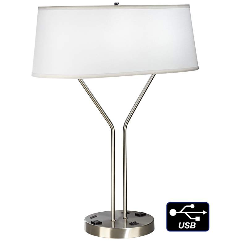 42F79-Modern Brushed Nickel Table Lamp with USB and Outlets