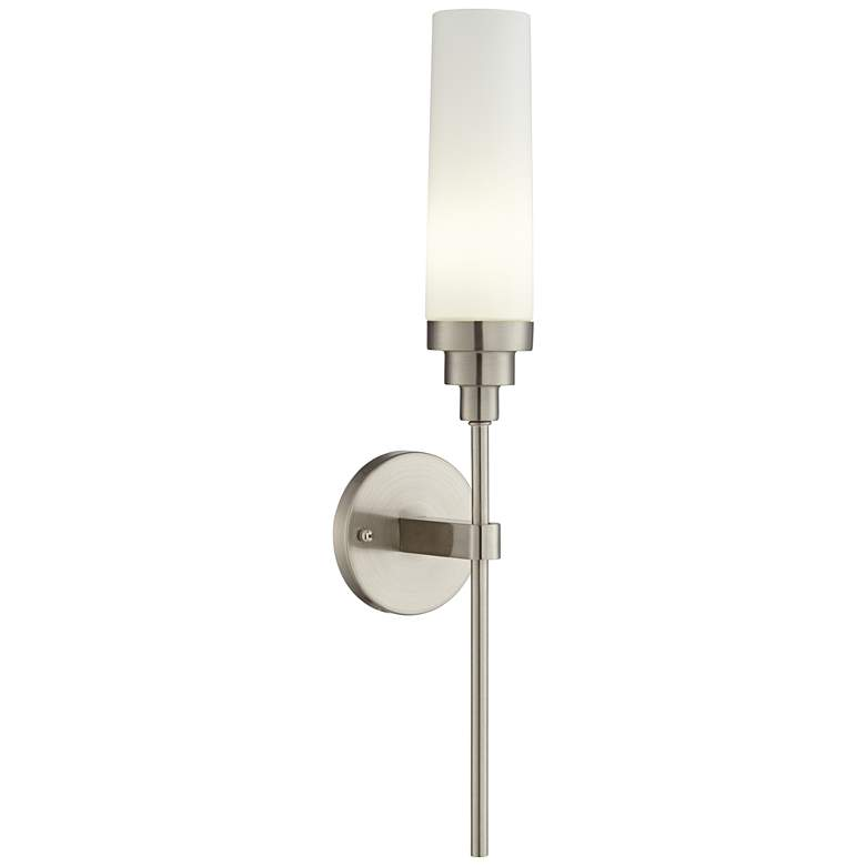 42F83 - Brushed Nickel Wall Sconce with Glass Shade
