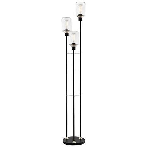 Lite Source Luken Black 3-Light Uplight Floor Lamp