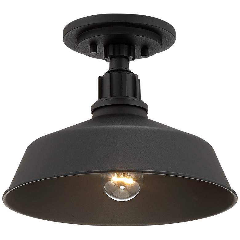 Franklin Iron Works Arnett Black Outdoor Ceiling Light