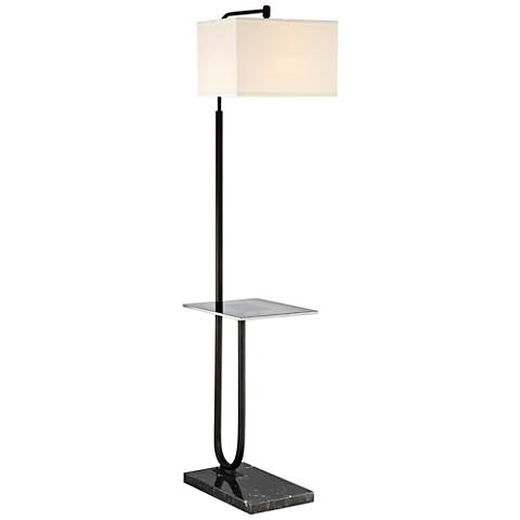 Lite Source Doreen Matte Black Floor Lamp with Tray Table