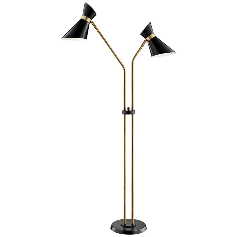 Lite Source Jared Black and Antique Brass 2-Arm Floor Lamp