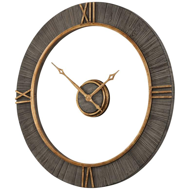 """Uttermost Alphonzo Charcoal Stained 39 1/4"""" Round Wall Clock"""