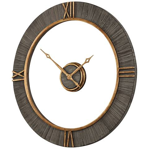 "Uttermost Alphonzo Charcoal Stained 39 1/4"" Round Wall Clock"