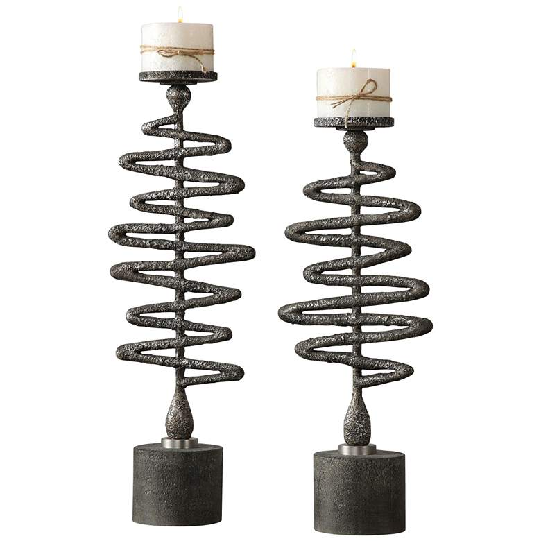 Uttermost Antiqued Silver Zigzag Candle Holder Set of 2