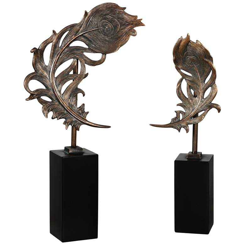 Uttermost Bronze Patina Quill Feathers Sculpture Set of 2