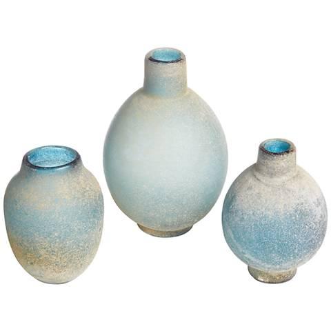 Uttermost Mercede Blue-Green 3-Piece Glass Vase Set