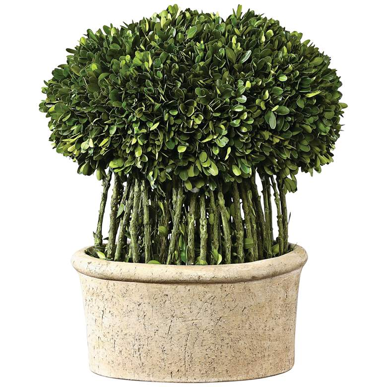 "Green Willow 17"" High Boxwood Topiary Faux Plant"
