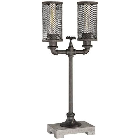 Quoizel Portman Bronze Steel Uplight Table Lamp