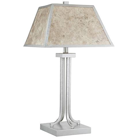 Quoizel Dumaine Silver Steel Mica Shade Table Lamp