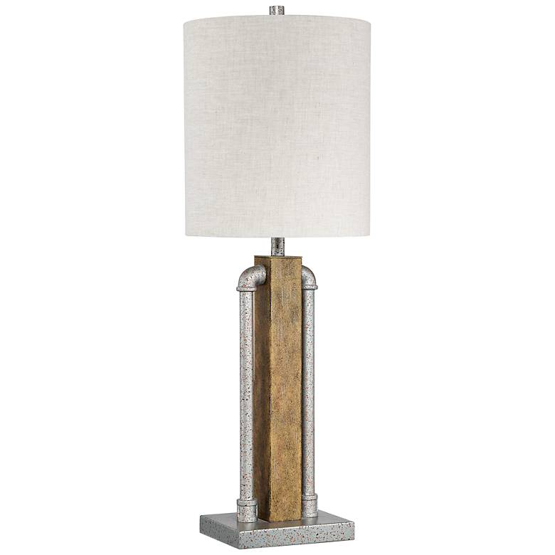 Quoizel Alliance Speckled Silver and Faux Wood Table Lamp