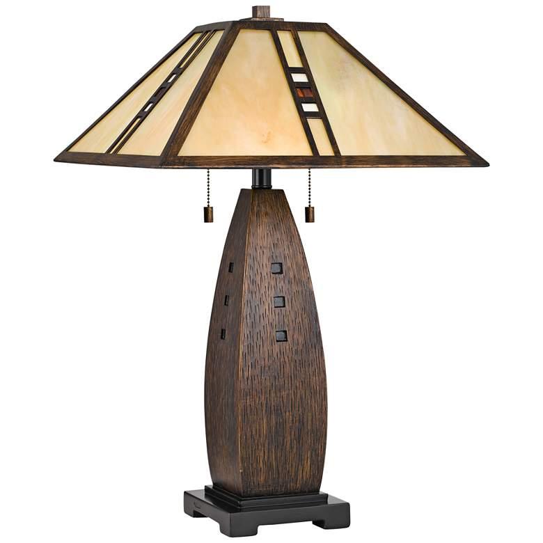 Quoizel Fulton Bronze Tiffany-Style Shade Table Lamp