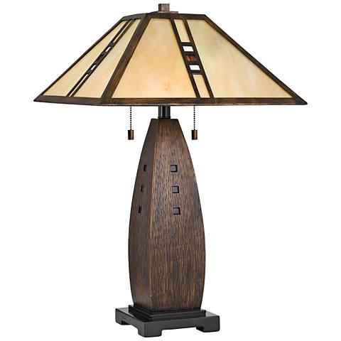 Quoizel Fulton Bronze Tiffany Shade Table Lamp