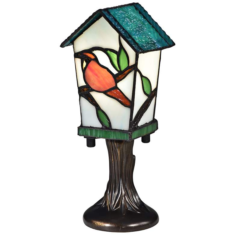 """Bird House 10"""" High Bronze Tiffany-Style Accent Table Lamp"""