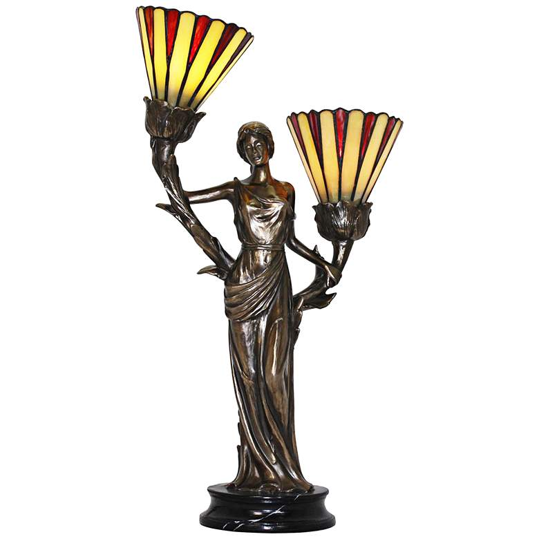 Dione Cold Cast Bronze Tiffany-Style Accent Table Lamp