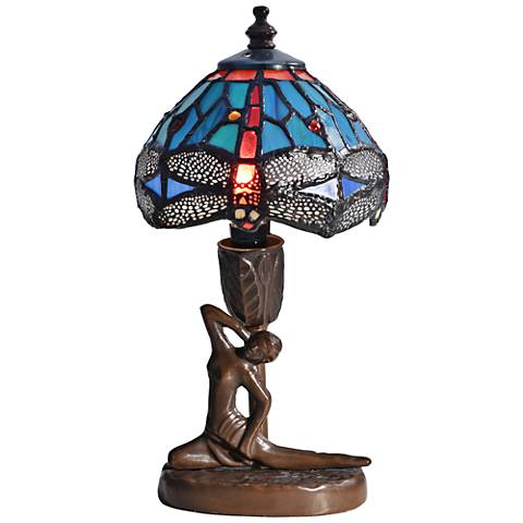"Dragonfly Sculpture 10""H Bronze Tiffany Accent Table Lamp"