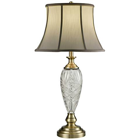 Dale Tiffany Brewars Antique Brass and Crystal Table Lamp