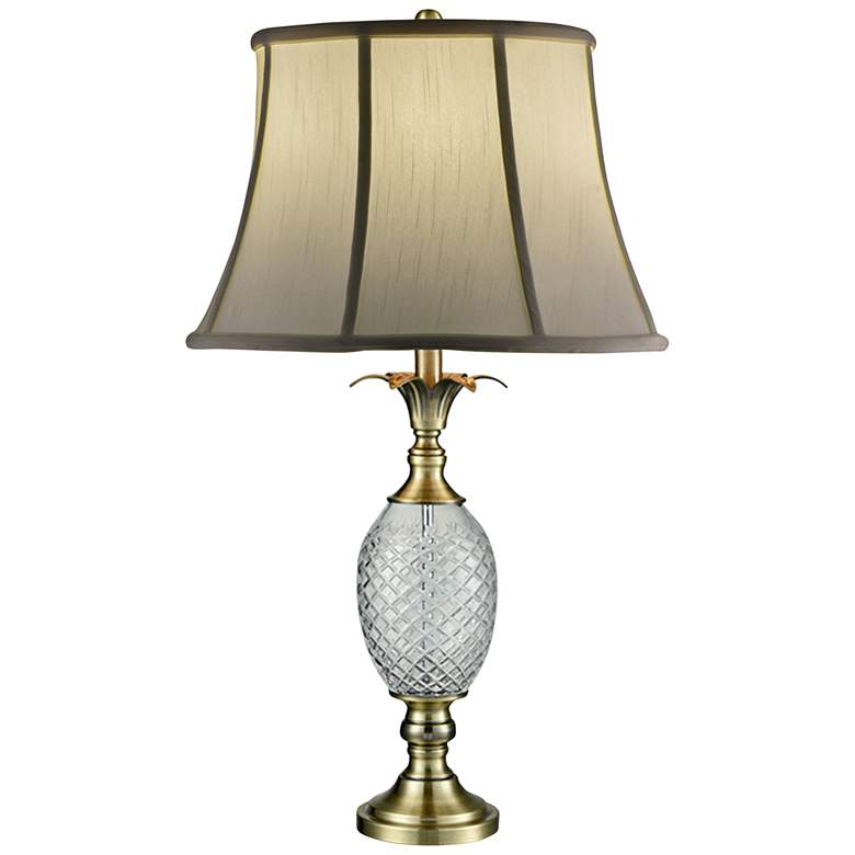 Dale Tiffany Pineapple Antique Brass and Crystal Table Lamp
