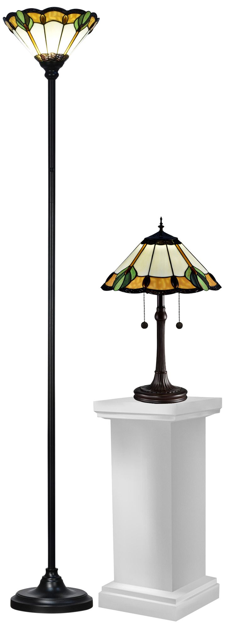 Lanarck Bronze 2 Piece Tiffany Torchiere And Table Lamp Set