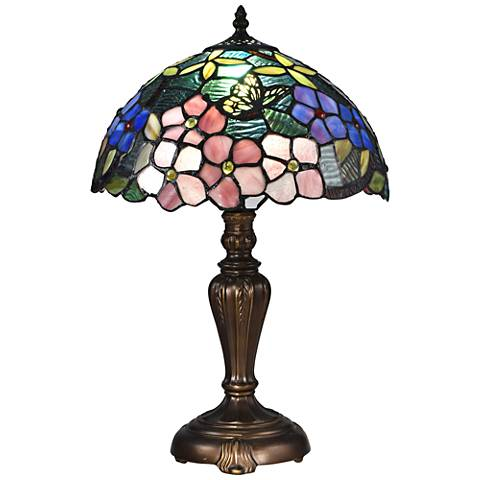 "Fox Peony 19"" High Bronze Tiffany-Style Accent Table Lamp"