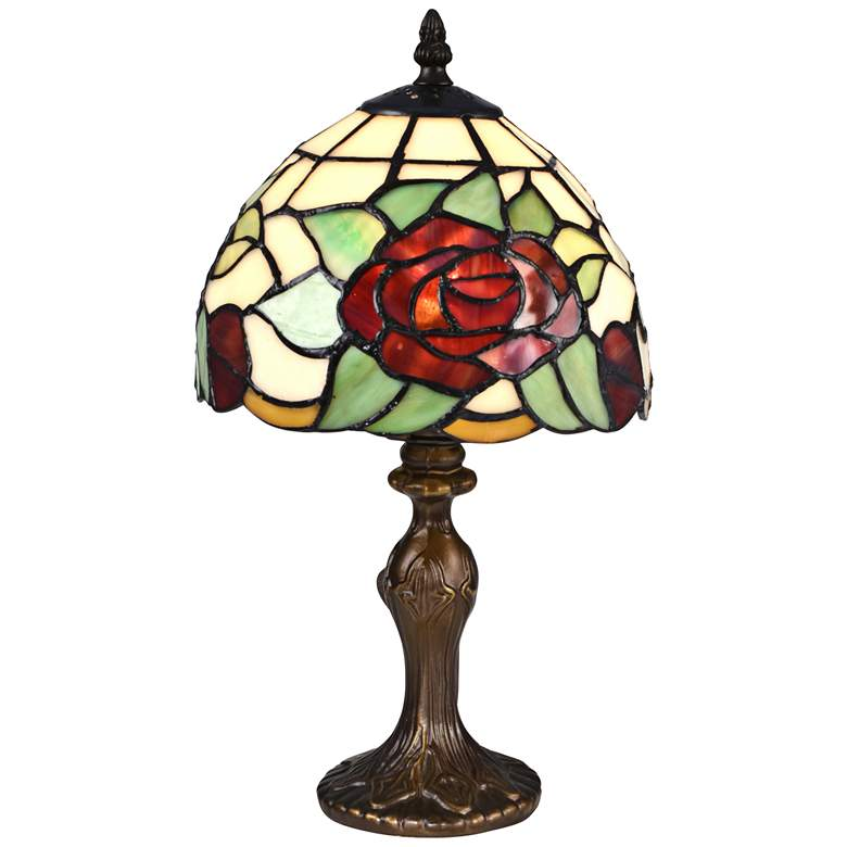 """Indian Rose 14 1/2""""H Bronze Tiffany-Style Accent Table Lamp"""