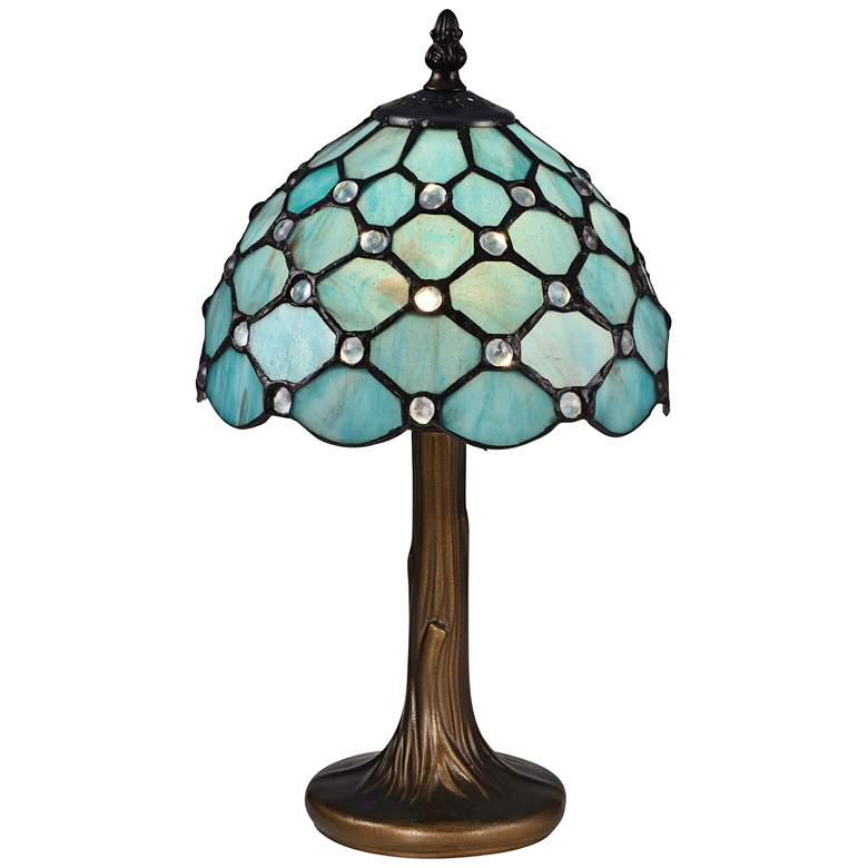 "Castle Point 15""H Bronze Tiffany-Style Accent Table Lamp"
