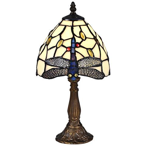 "Cape Dragonfly 14 3/4"" High Bronze Tiffany Accent Table Lamp"