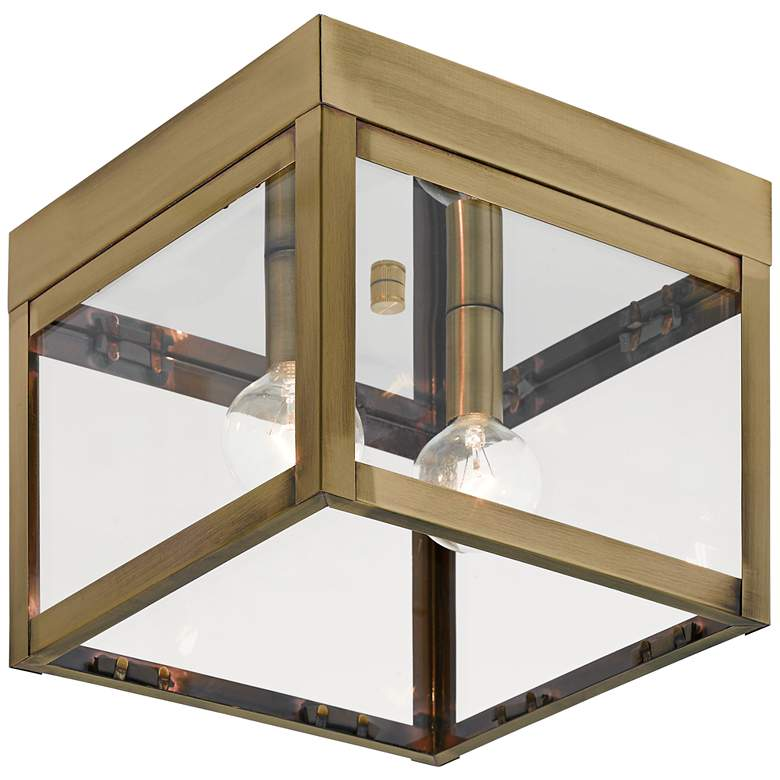"""Nyack 8"""" Wide Antique Brass Outdoor Ceiling Light"""