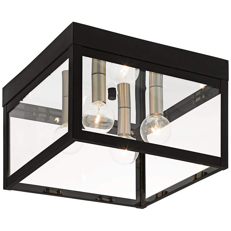 """Nyack 10 1/2"""" Wide Black Outdoor Ceiling Light"""
