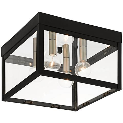 "Nyack 10 1/2"" Wide Black Outdoor Ceiling Light"