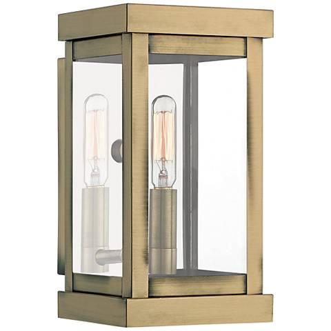 """Hopewell 9"""" High Antique Brass Outdoor Wall Light"""