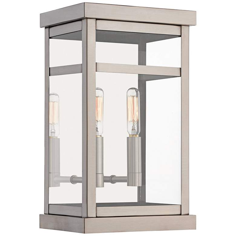 """Hopewell 12 3/4""""H Brushed Nickel 2-Light Outdoor Wall Light"""