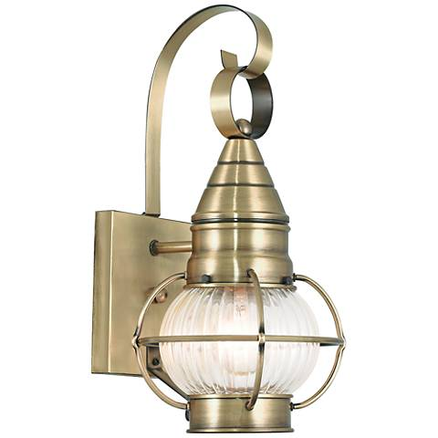 "Newburyport 13 3/4"" High Antique Brass Outdoor Wall Light"
