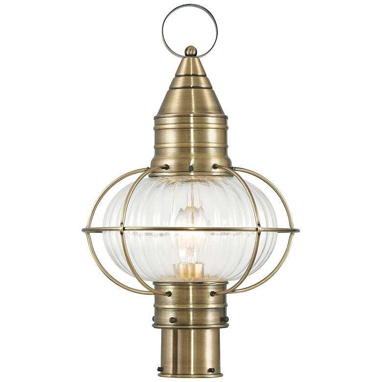 "Newburyport 19 3/4"" High Antique Brass Outdoor Post Light"