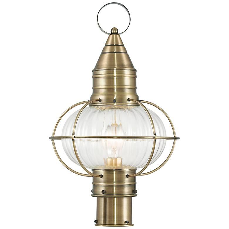 """Newburyport 19 3/4"""" High Antique Brass Outdoor Post Light"""