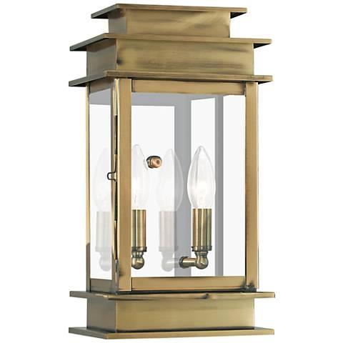"""Princeton 14"""" High Antique Brass 2-Light Outdoor Wall Light"""