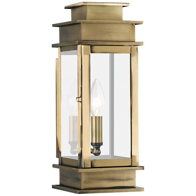 """Princeton 14"""" High Antique Brass Outdoor Wall Light"""