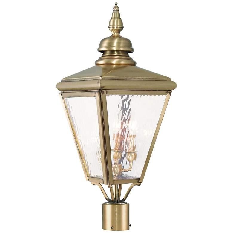 """Cambridge 26 3/4"""" High Antique Brass Outdoor Post Light"""