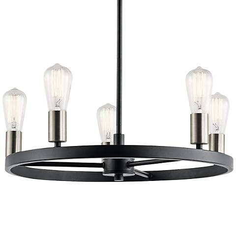 "Kichler Brooklyn 21 1/4"" Wide Matte Black 5-Light Chandelier"