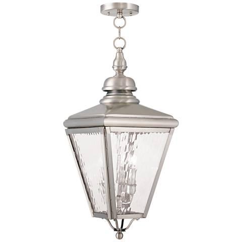 "Cambridge 25 1/4"" High Brushed Nickel Outdoor Hanging Light"