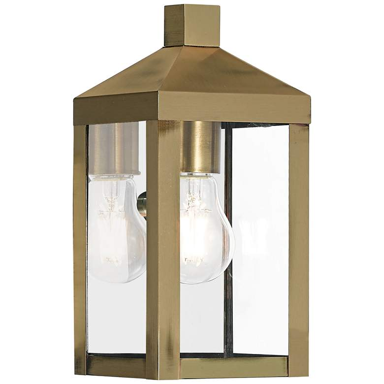 """Nyack 10 1/2"""" High Antique Brass Outdoor Wall Light"""