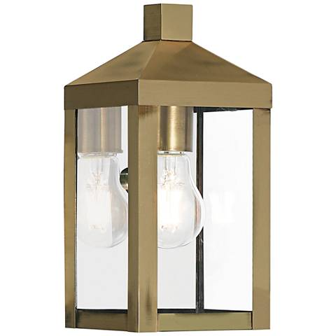 "Nyack 10 1/2"" High Antique Brass Outdoor Wall Light"