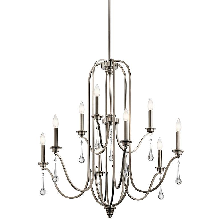 "Kichler Karlee 34"" Wide Classic Pewter 9-Light Chandelier"