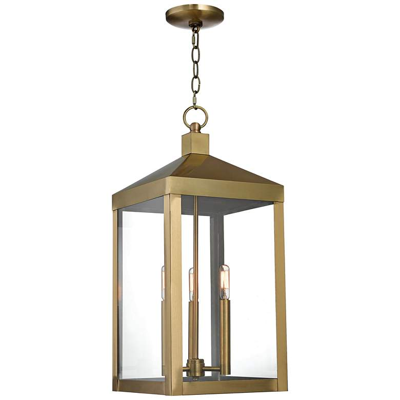 "Nyack 24"" High Antique Brass Outdoor Hanging Light"