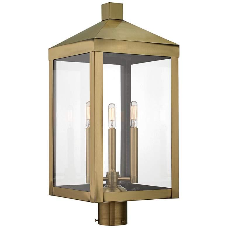 "Nyack 24"" High Antique Brass Outdoor Post Light"