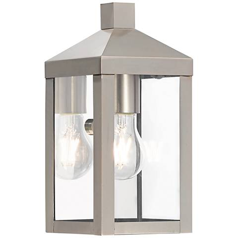 "Nyack 10 1/2"" High Brushed Nickel Outdoor Wall Light"