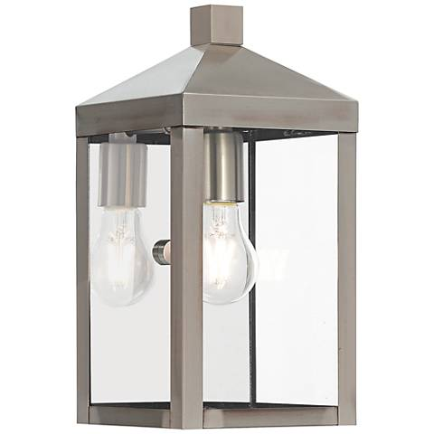 "Nyack 12 3/4"" High Brushed Nickel Outdoor Wall Light"